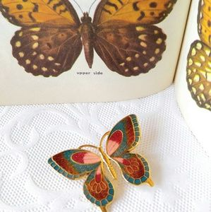 VINTAGE Cloisonne Butterfly Brooch-Pin-Turquoise